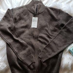 True Rock Brown Full Zip Up Sweater